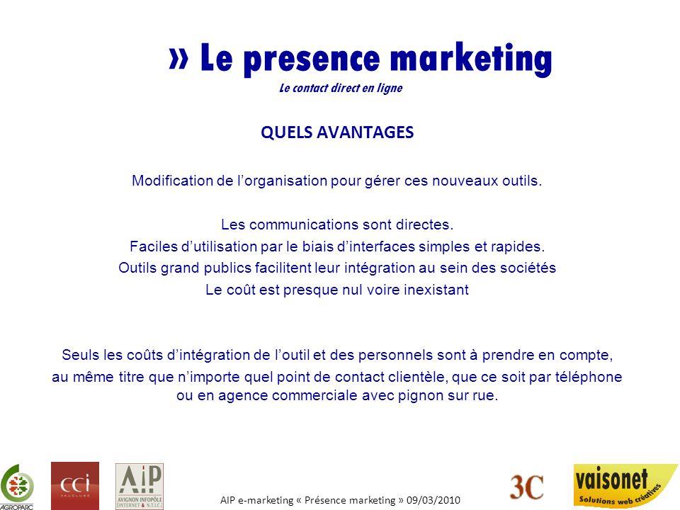 AIP e-marketing « Présence marketing » 09/03/2010 » Le presence marketing Le contact direct en ligne QUELS AVANTAGES Modification de lorganisation pou