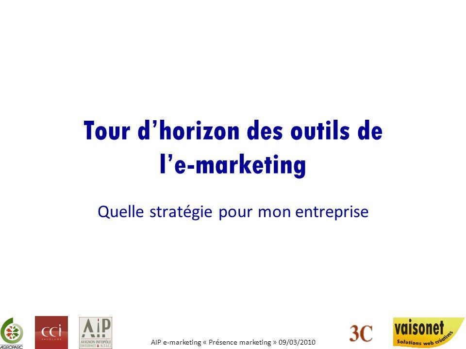 AIP e-marketing « Présence marketing » 09/03/2010 Stratégies e-marketing E-COMMERCE LE PRESENCE MARKETING LUBIQUATE MARKETING LE REFERENCEMENT Naturel et Pay per Clic LES BLOGS DENTREPRISE LA CO-CREATION ET LA PARTICIPATION LE BUZZ MARKETING LES RESEAUX SOCIAUX E-MAILING FIDELISATION
