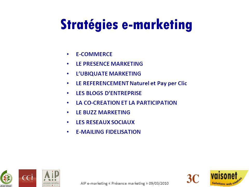 AIP e-marketing « Présence marketing » 09/03/2010 Stratégies e-marketing E-COMMERCE LE PRESENCE MARKETING LUBIQUATE MARKETING LE REFERENCEMENT Naturel