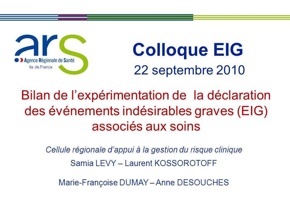 XX/XX/XX Colloque EIG Ile de France Bilan de lexpérimentation de la déclaration des événements indésirables graves (EIG) associés aux soins Cellule ré