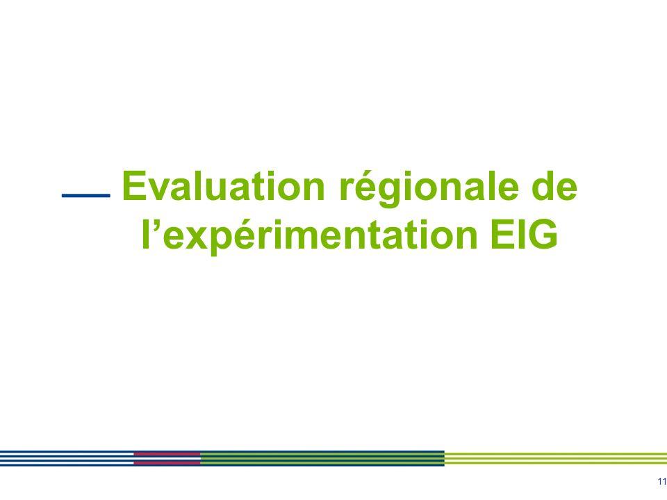 11 Evaluation régionale de lexpérimentation EIG