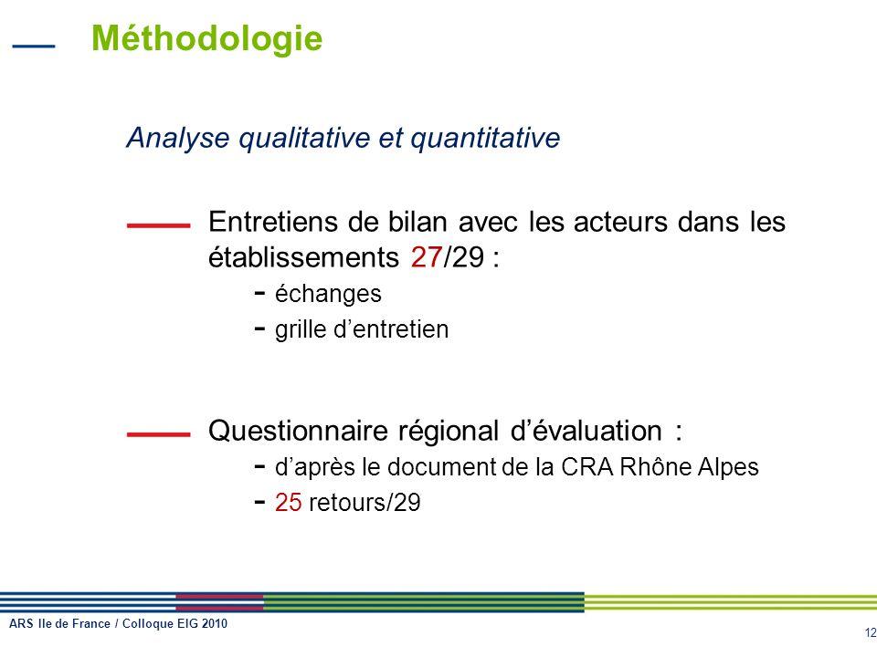 12 Méthodologie Analyse qualitative et quantitative Entretiens de bilan avec les acteurs dans les établissements 27/29 : - échanges - grille dentretie
