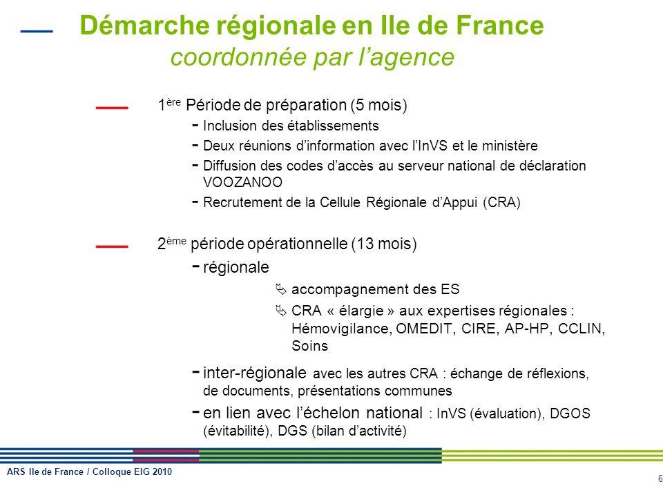 6 Démarche régionale en Ile de France coordonnée par lagence 1 ère Période de préparation (5 mois) - Inclusion des établissements - Deux réunions dinf