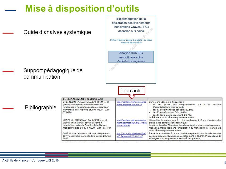 8 Mise à disposition doutils Guide danalyse systémique Support pédagogique de communication Bibliographie Lien actif ARS Ile de France / Colloque EIG