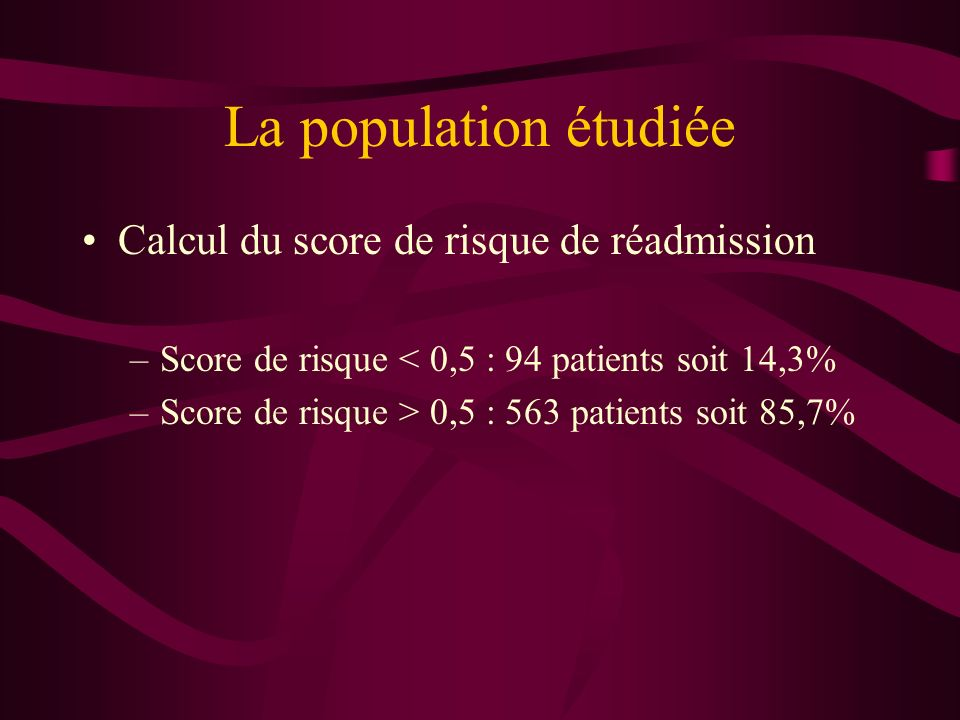 La population étudiée Calcul du score de risque de réadmission –Score de risque < 0,5 : 94 patients soit 14,3% –Score de risque > 0,5 : 563 patients s