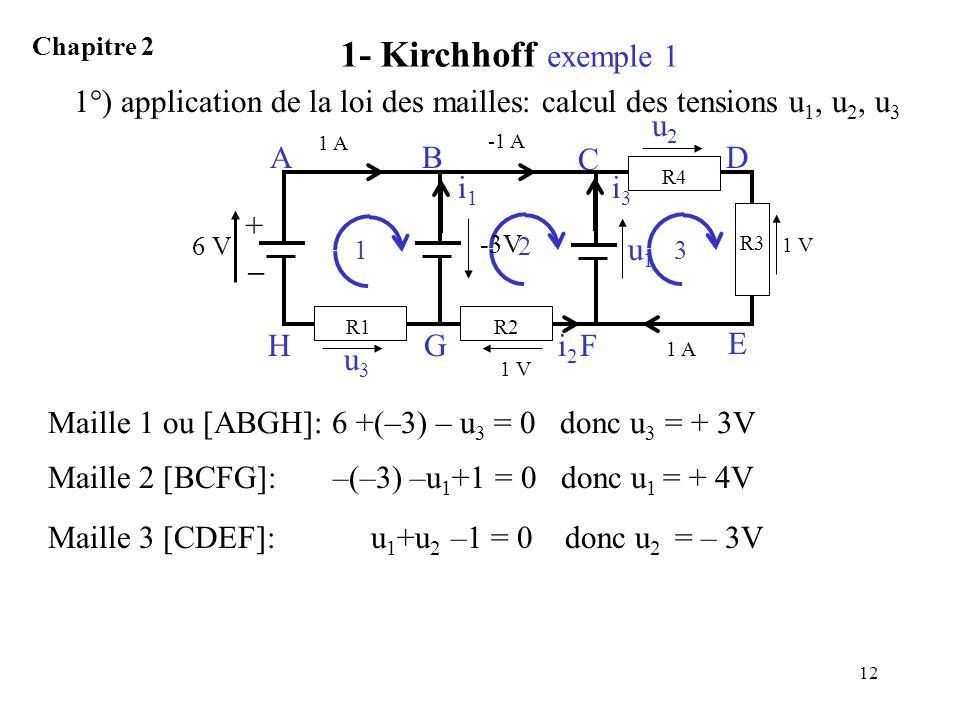 12 1 AB GH Maille 1 ou [ABGH]: 6 +(–3) – u 3 = 0 donc u 3 = + 3V 2 C F Maille 2 [BCFG]: –(–3) –u 1 +1 = 0 donc u 1 = + 4V 3 E D Maille 3 [CDEF]: u 1 +