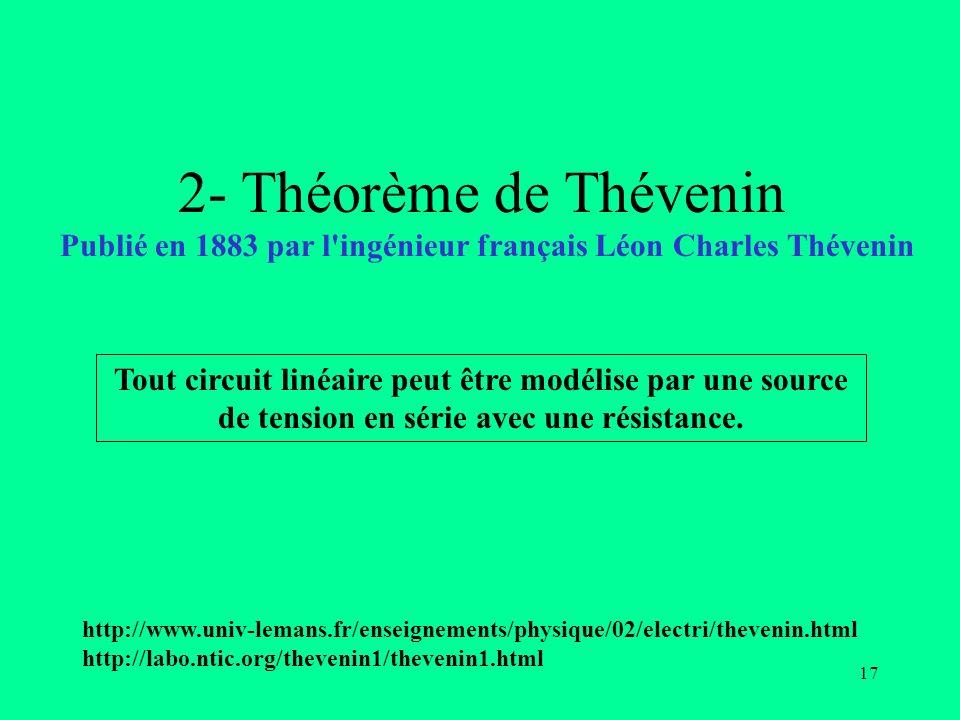 17 2- Théorème de Thévenin Publié en 1883 par l'ingénieur français Léon Charles Thévenin Tout circuit linéaire peut être modélise par une source de te