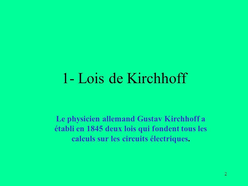 3 1- Kirchhoff : Définitions Chapitre 2 Définitions: Nœud : Un nœud est le point de jonction entre au moins trois fils de connexion Branche: Une branche est un ensemble de dipôles montés en série entre deux nœuds