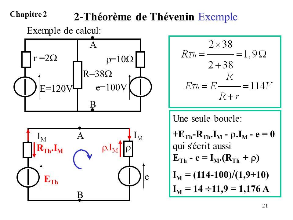 21 2-Théorème de Thévenin Exemple Chapitre 2 e=100V =10 E=120V r =2 R=38 A B Exemple de calcul: e A E Th R Th.I M B IMIM.I M IMIM Une seule boucle: +E