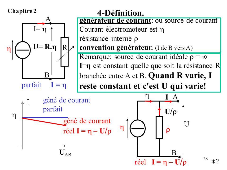 26 4-Définition. Chapitre 2 générateur de courant: ou source de courant Courant électromoteur est résistance interne convention générateur. (I de B ve