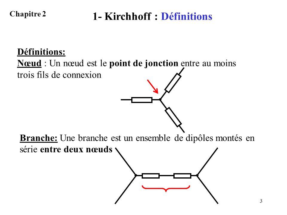 3 1- Kirchhoff : Définitions Chapitre 2 Définitions: Nœud : Un nœud est le point de jonction entre au moins trois fils de connexion Branche: Une branc