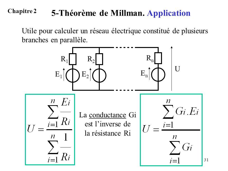 31 Utile pour calculer un réseau électrique constitué de plusieurs branches en parallèle. 5-Théorème de Millman. Application Chapitre 2 E1E1 R1R1 E2E2