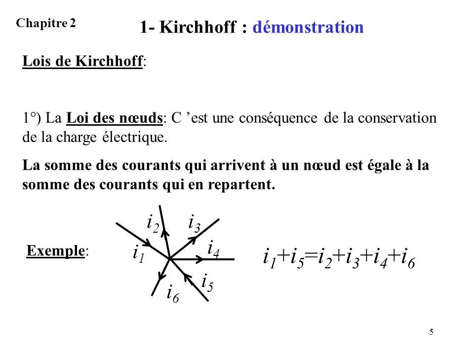6 1- Kirchhoff : démonstration Chapitre 2 Plus généralement la loi des nœuds sécrit: k i k = 0 k vaut +1 si le courant i k aboutit au nœud et –1 sil en repart.