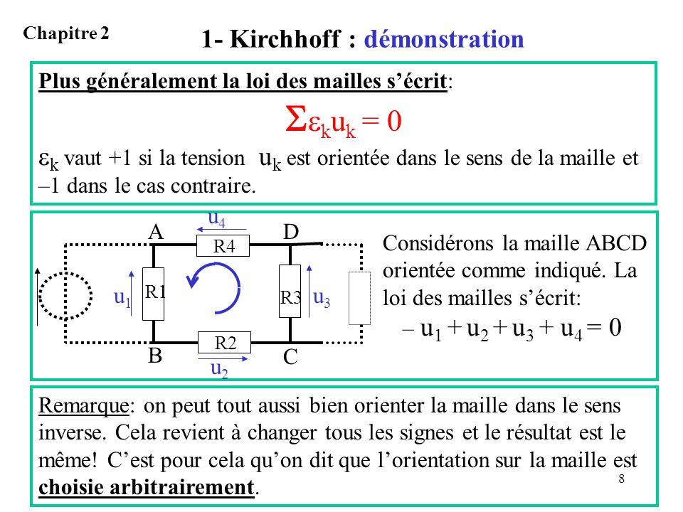 8 1- Kirchhoff : démonstration Chapitre 2 Plus généralement la loi des mailles sécrit: k u k = 0 k vaut +1 si la tension u k est orientée dans le sens