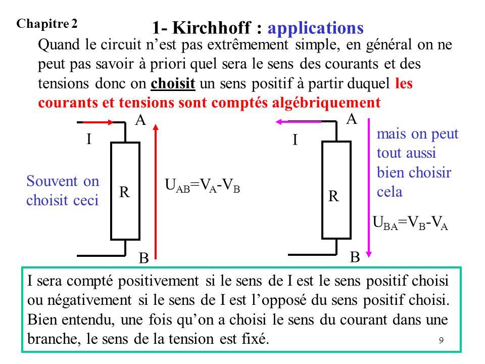 10 1- Kirchhoff exemple 1 Chapitre 2 Exemple 1: 1°) Déterminer les tensions u 1, u 2, u 3.