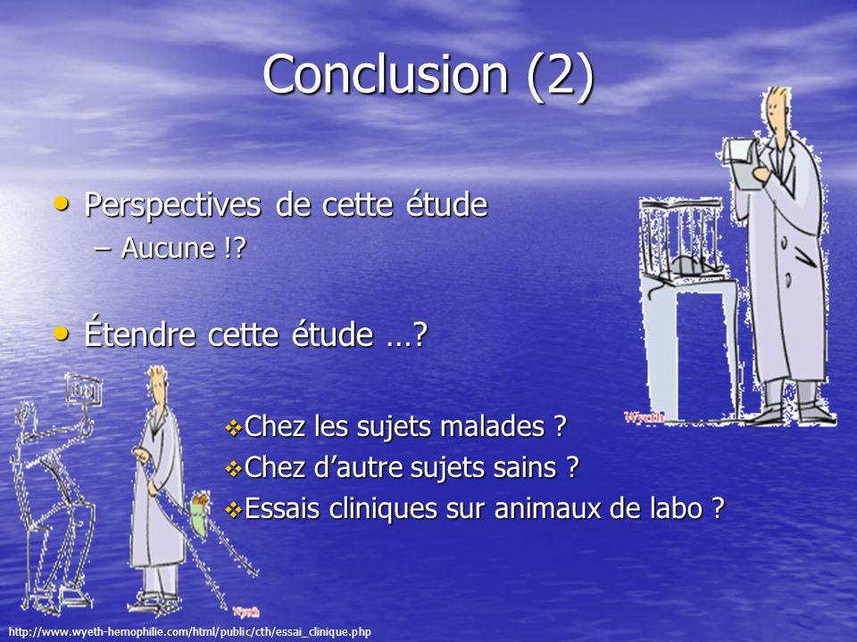 Conclusion (2) Perspectives de cette étude Perspectives de cette étude –Aucune !? Étendre cette étude …? Étendre cette étude …? Chez les sujets malade