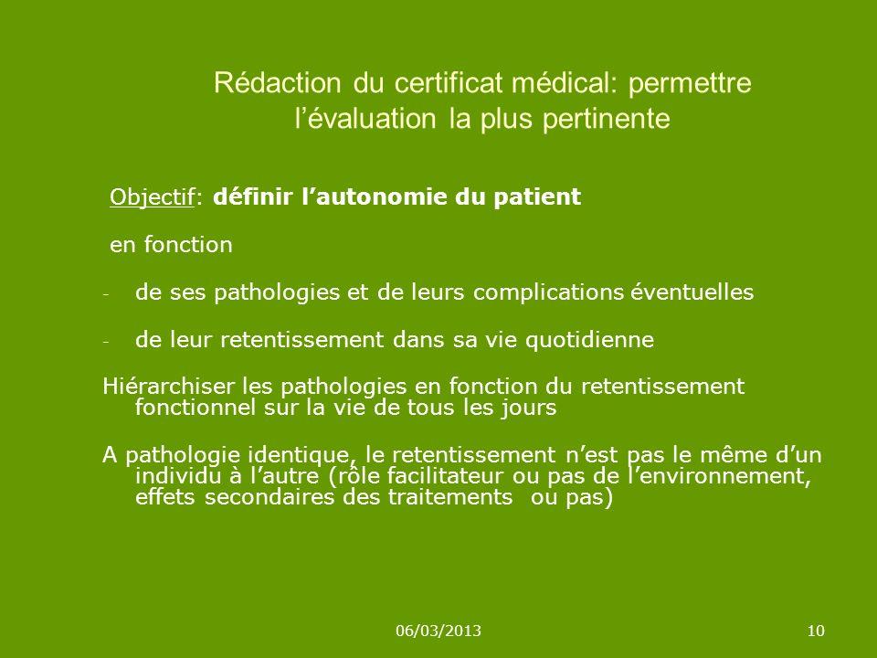 06/03/201310 Rédaction du certificat médical: permettre lévaluation la plus pertinente Objectif: définir lautonomie du patient en fonction - de ses pa