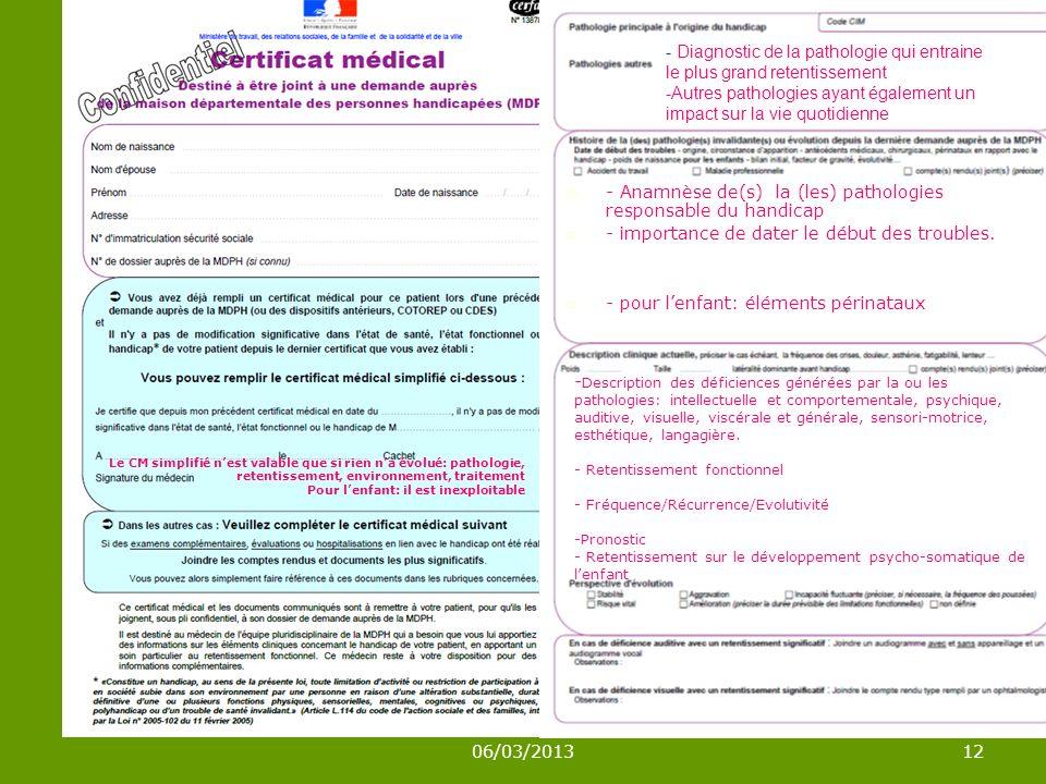 06/03/201312 - Diagnostic de la pathologie qui entraine le plus grand retentissement -Autres pathologies ayant également un impact sur la vie quotidienne - Anamnèse de(s) la (les) pathologies responsable du handicap - importance de dater le début des troubles.