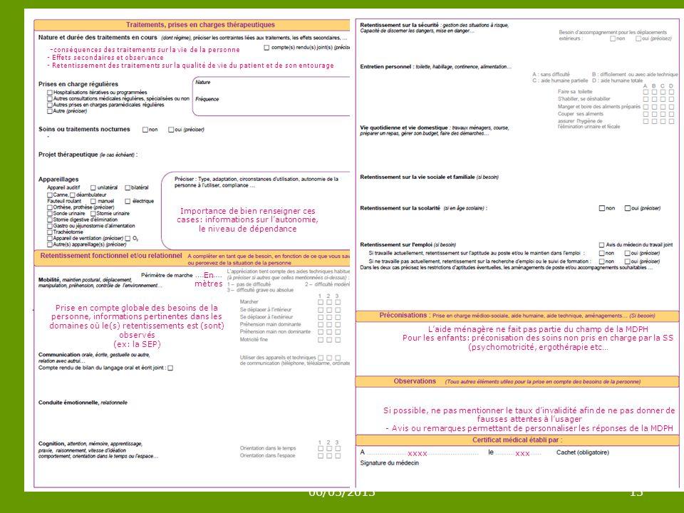 06/03/201313 - conséquences des traitements sur la vie de la personne - Effets secondaires et observance - Retentissement des traitements sur la qualité de vie du patient et de son entourage Importance de bien renseigner ces cases: informations sur lautonomie, le niveau de dépendance En mètres Prise en compte globale des besoins de la personne, informations pertinentes dans les domaines où le(s) retentissements est (sont) observés (ex: la SEP) xxxxxxx Laide ménagère ne fait pas partie du champ de la MDPH Pour les enfants: préconisation des soins non pris en charge par la SS (psychomotricité, ergothérapie etc… Si possible, ne pas mentionner le taux dinvalidité afin de ne pas donner de fausses attentes à lusager - Avis ou remarques permettant de personnaliser les réponses de la MDPH