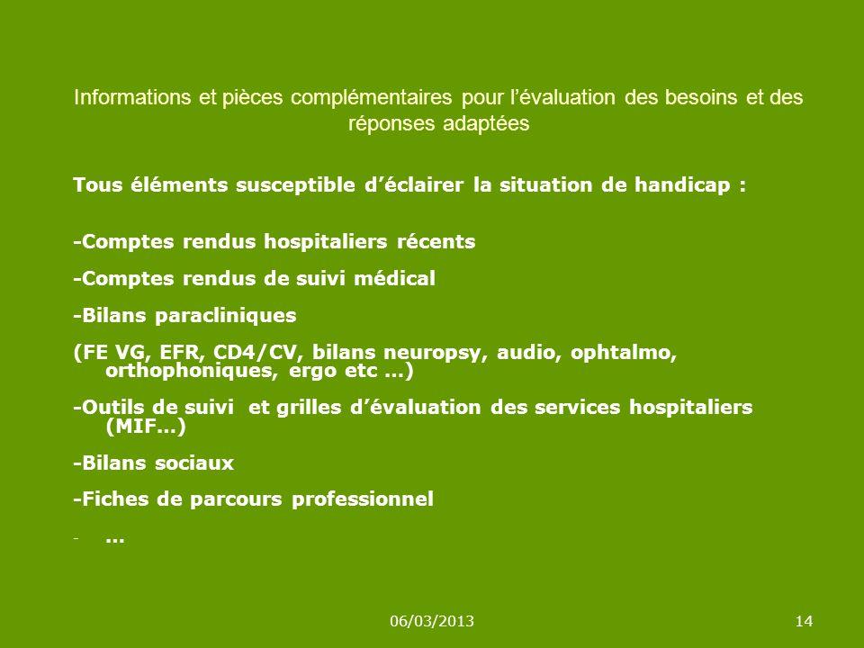 06/03/201314 Tous éléments susceptible déclairer la situation de handicap : -Comptes rendus hospitaliers récents -Comptes rendus de suivi médical -Bilans paracliniques (FE VG, EFR, CD4/CV, bilans neuropsy, audio, ophtalmo, orthophoniques, ergo etc …) -Outils de suivi et grilles dévaluation des services hospitaliers (MIF…) -Bilans sociaux -Fiches de parcours professionnel -…-… Informations et pièces complémentaires pour lévaluation des besoins et des réponses adaptées