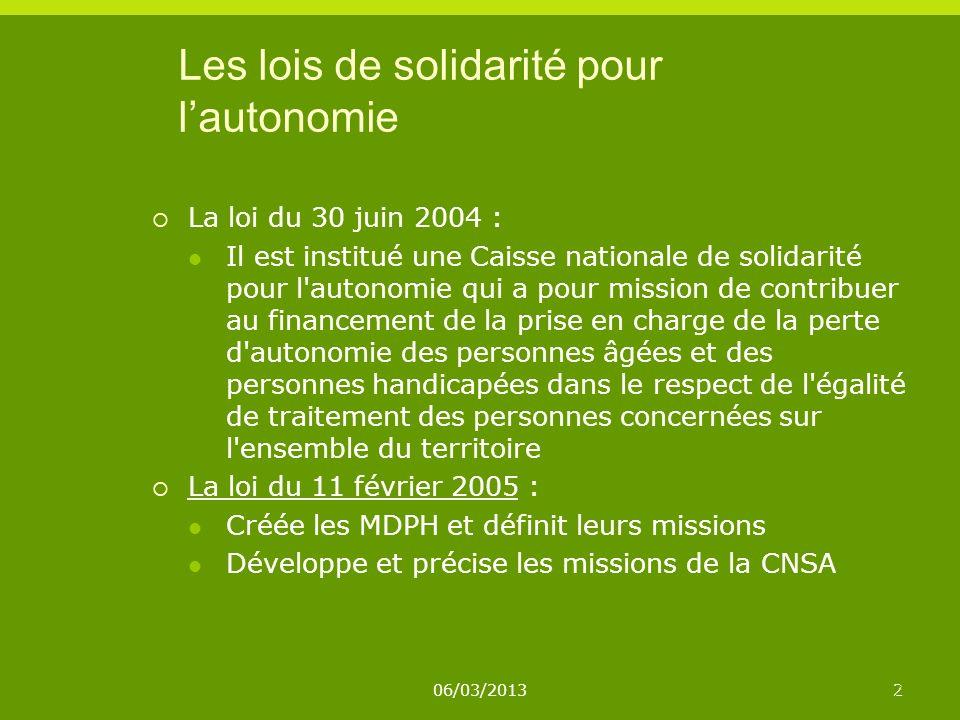 06/03/20132 2 Les lois de solidarité pour lautonomie La loi du 30 juin 2004 : Il est institué une Caisse nationale de solidarité pour l'autonomie qui