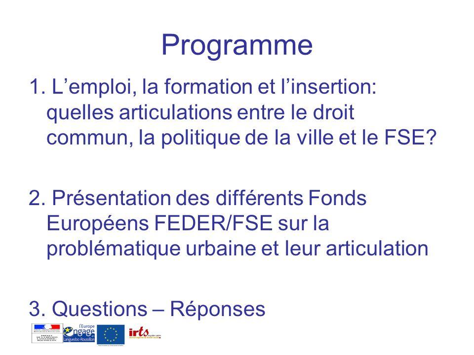 La politique de Cohésion – Objectif Compétitivité Le rôle de chaque fonds FEDER Fonds européen de développement régional Soutient des projets dinvestissements matériels (dvt économique, R§D TIC, transports, développement durable, tourisme culture etc..) des actions collectives (dvt des PME) de réhabilitation des quartiers (hors logement sauf efficacité énergétique) FSE Fonds social européen Soutient des projets daccompagnement des personnes dans les domaines -de lemploi -de la formation professionnelles -de linsertion de soutien aux structures (amélioration de la gouvernance, renforcement des partenariats …) Obligation de moyen = insertion dans lemploi ou vers une formation