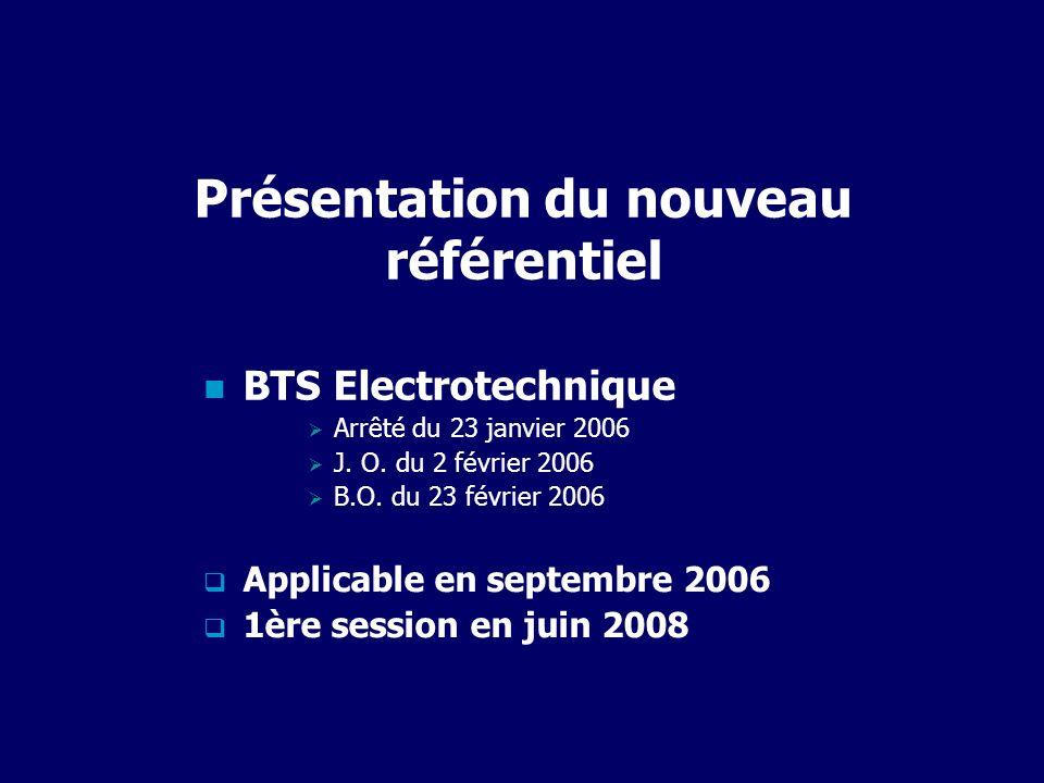 Présentation du nouveau référentiel BTS Electrotechnique Arrêté du 23 janvier 2006 J. O. du 2 février 2006 B.O. du 23 février 2006 Applicable en septe