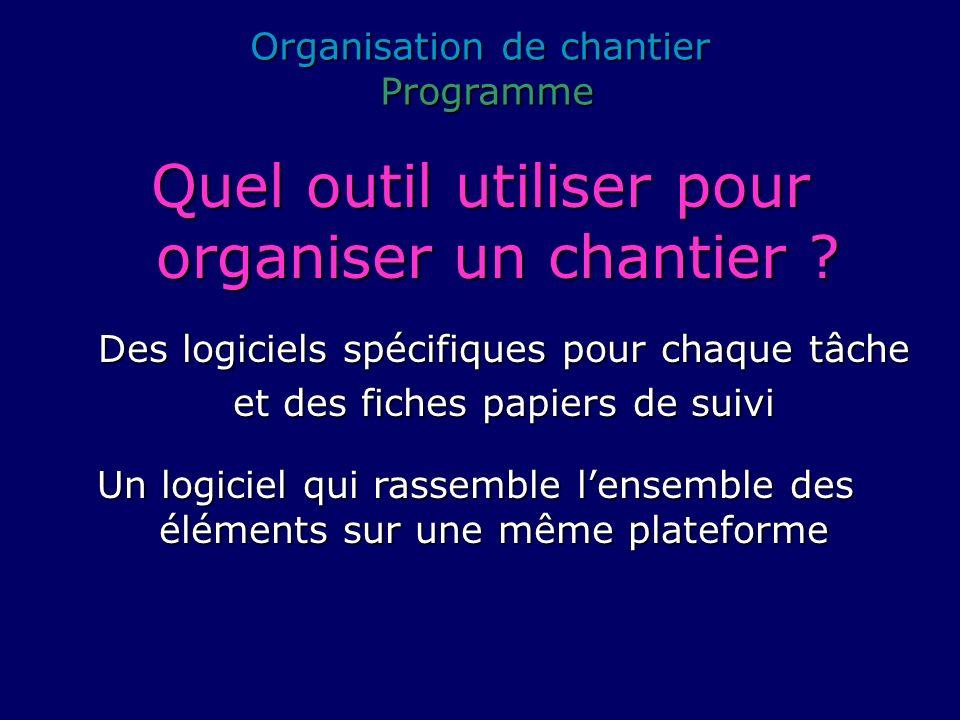 Organisation de chantier Programme Programme Quel outil utiliser pour organiser un chantier ? Des logiciels spécifiques pour chaque tâche et des fiche