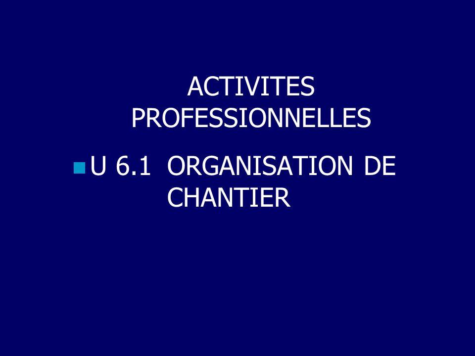 ACTIVITES PROFESSIONNELLES U 6.1 ORGANISATION DE CHANTIER