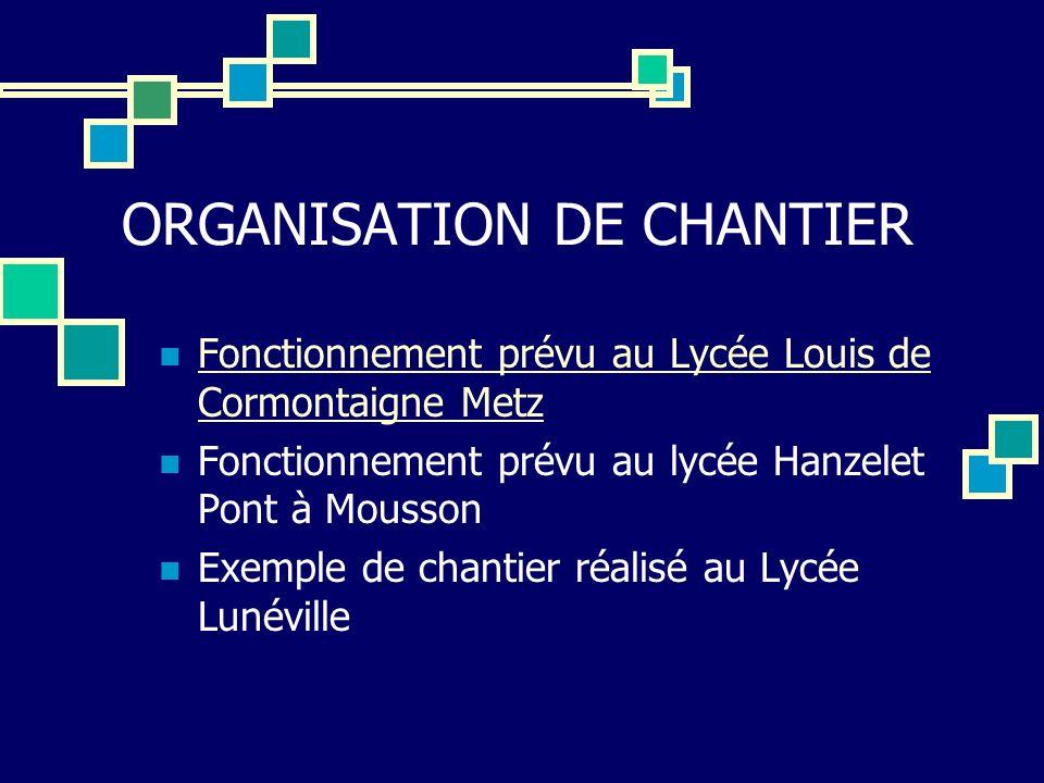 ORGANISATION DE CHANTIER Fonctionnement prévu au Lycée Louis de Cormontaigne Metz Fonctionnement prévu au Lycée Louis de Cormontaigne Metz Fonctionnem