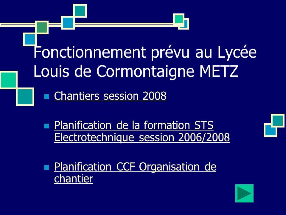 Fonctionnement prévu au Lycée Louis de Cormontaigne METZ Chantiers session 2008 Planification de la formation STS Electrotechnique session 2006/2008 P