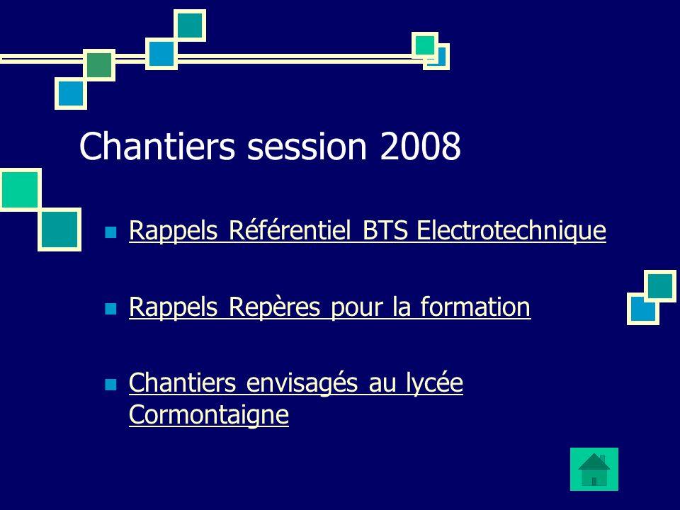 Chantiers session 2008 Rappels Référentiel BTS Electrotechnique Rappels Repères pour la formation Chantiers envisagés au lycée Cormontaigne Chantiers