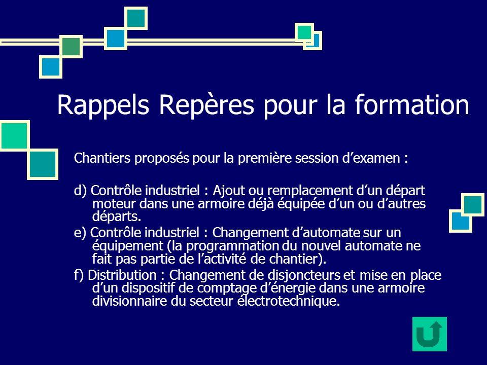 Rappels Repères pour la formation Chantiers proposés pour la première session dexamen : d) Contrôle industriel : Ajout ou remplacement dun départ mote