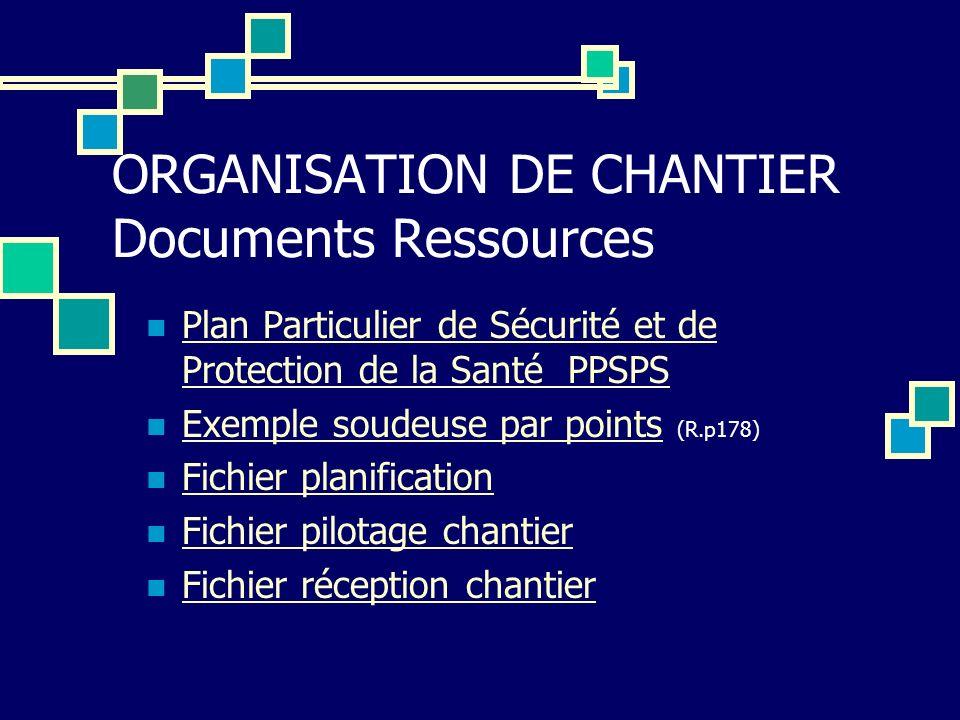 ORGANISATION DE CHANTIER Documents Ressources Plan Particulier de Sécurité et de Protection de la Santé PPSPS Plan Particulier de Sécurité et de Prote