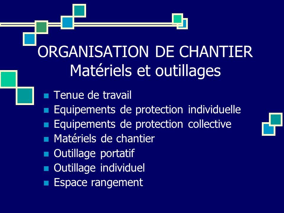 ORGANISATION DE CHANTIER Matériels et outillages Tenue de travail Equipements de protection individuelle Equipements de protection collective Matériel