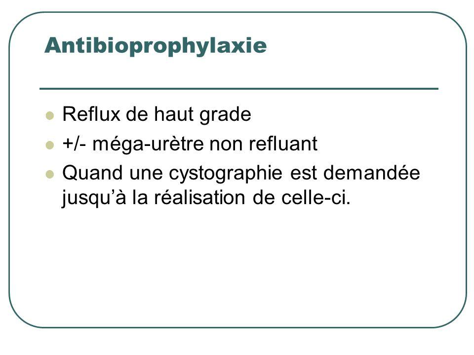 Antibioprophylaxie Reflux de haut grade +/- méga-urètre non refluant Quand une cystographie est demandée jusquà la réalisation de celle-ci.