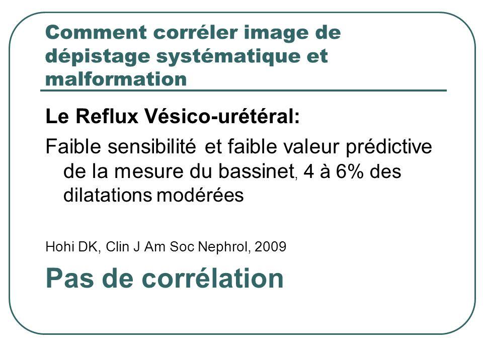 Comment corréler image de dépistage systématique et malformation Le Reflux Vésico-urétéral: Faible sensibilité et faible valeur prédictive de la mesur