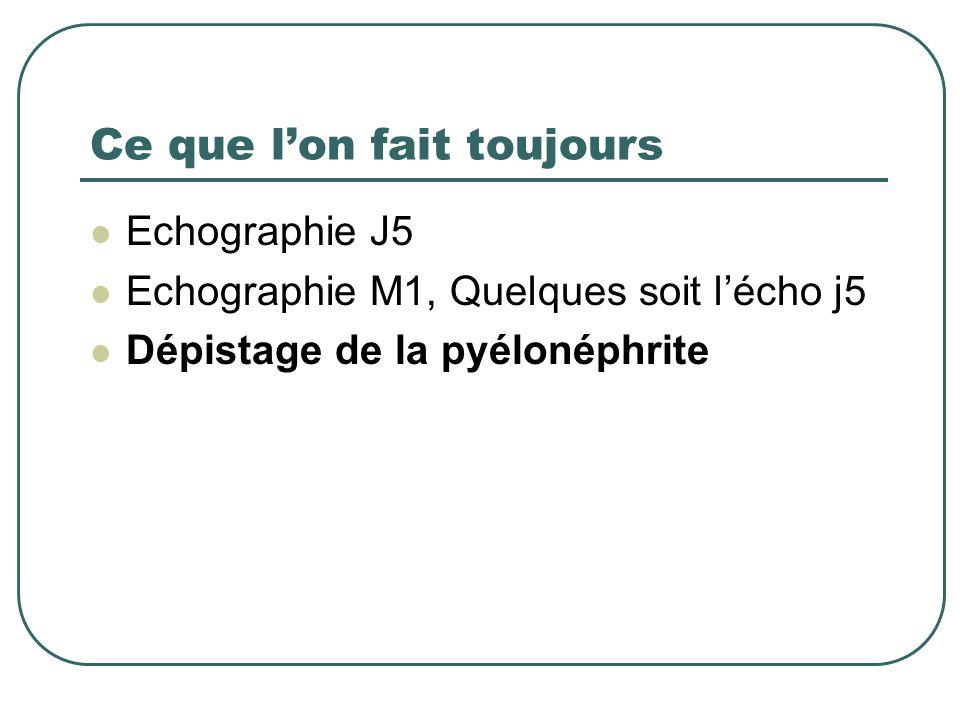 Ce que lon fait toujours Echographie J5 Echographie M1, Quelques soit lécho j5 Dépistage de la pyélonéphrite