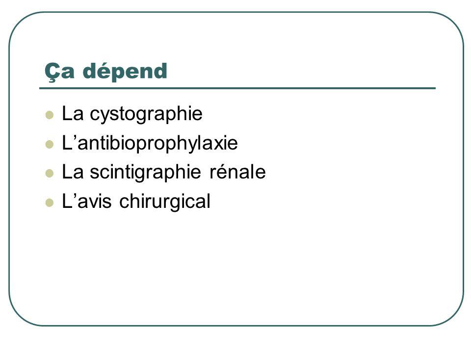 Ça dépend La cystographie Lantibioprophylaxie La scintigraphie rénale Lavis chirurgical