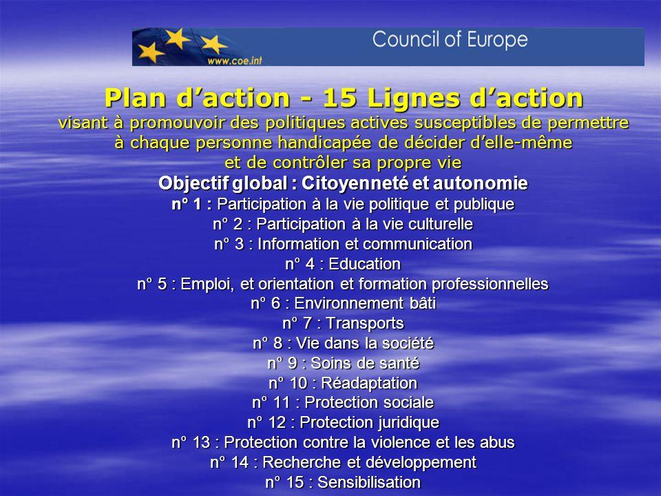 Plan daction - 15 Lignes daction visant à promouvoir des politiques actives susceptibles de permettre à chaque personne handicapée de décider delle-mê