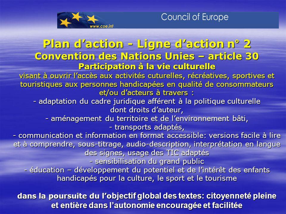 Plan daction - Ligne daction n° 2 Convention des Nations Unies – article 30 Participation à la vie culturelle visant à ouvrir laccès aux activités cut