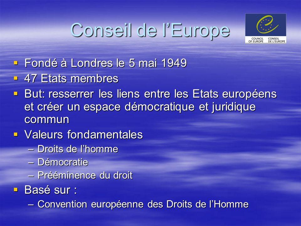 Conseil de lEurope Fondé à Londres le 5 mai 1949 Fondé à Londres le 5 mai 1949 47 Etats membres 47 Etats membres But: resserrer les liens entre les Et