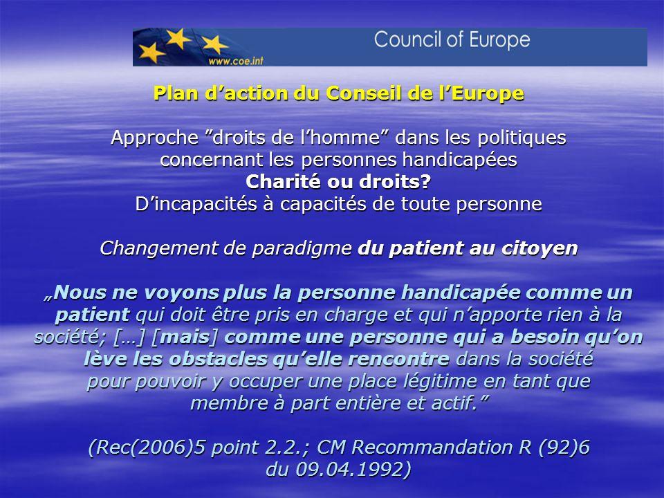 Plan daction du Conseil de lEurope Approche droits de lhomme dans les politiques concernant les personnes handicapées Charité ou droits? Dincapacités