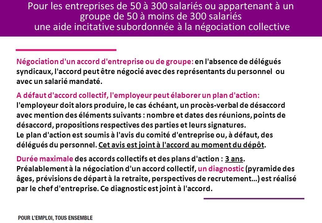 Pour les entreprises de 50 à 300 salariés ou appartenant à un groupe de 50 à moins de 300 salariés une aide incitative subordonnée à la négociation co