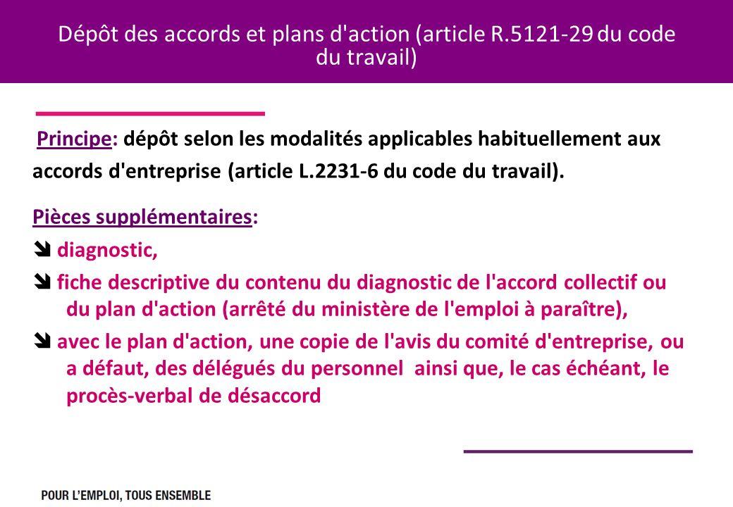 Dépôt des accords et plans d'action (article R.5121-29 du code du travail) Principe: dépôt selon les modalités applicables habituellement aux accords