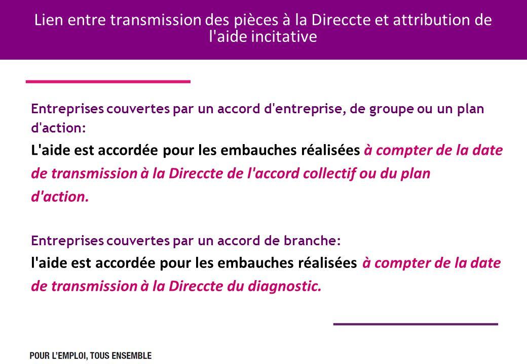 Lien entre transmission des pièces à la Direccte et attribution de l'aide incitative Entreprises couvertes par un accord d'entreprise, de groupe ou un