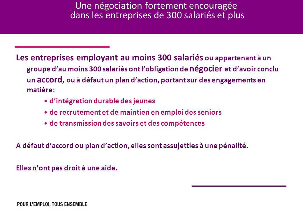 Une négociation fortement encouragée dans les entreprises de 300 salariés et plus Les entreprises employant au moins 300 salariés ou appartenant à un