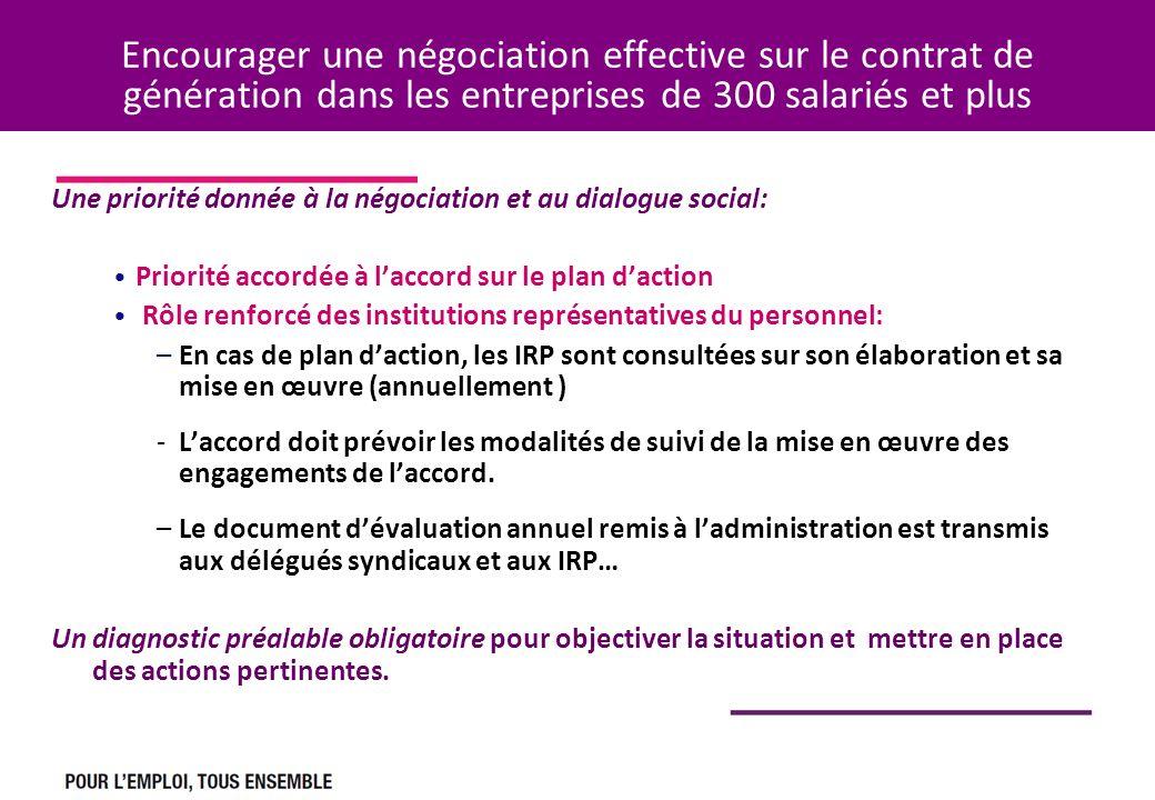 Encourager une négociation effective sur le contrat de génération dans les entreprises de 300 salariés et plus Une priorité donnée à la négociation et