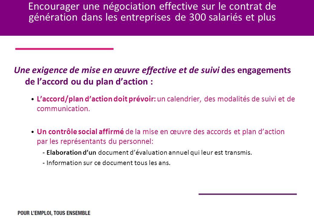Encourager une négociation effective sur le contrat de génération dans les entreprises de 300 salariés et plus Une exigence de mise en œuvre effective