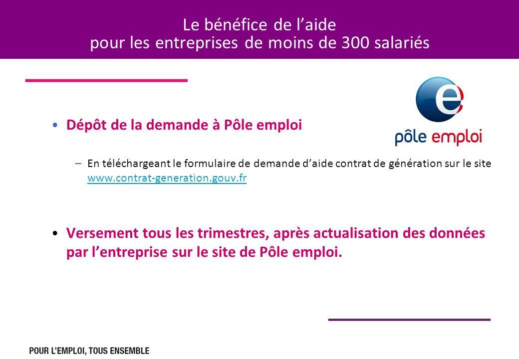 Le bénéfice de laide pour les entreprises de moins de 300 salariés Dépôt de la demande à Pôle emploi –En téléchargeant le formulaire de demande daide